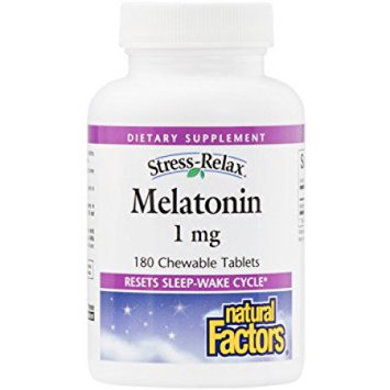 Natural Factors - Stress-Relax Melatonin 1 mg. - 180 Chewable Tablets