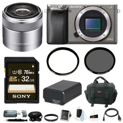 Sony Alpha A6000 Camera Body w/ 30mm Lens & 32GB Accessory Bundle - Graphite