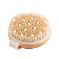 Natural Boar Bristle Gentle Exfoliating Bath Body Brush Gentle Massage Nodes Brush Shower Brush for Wet or Dry Brushing