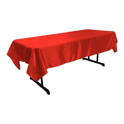 LA Linen TCbridal60X84-RedB98 Bridal Satin Rectangular Tablecloth Red - 60 x 84 in.