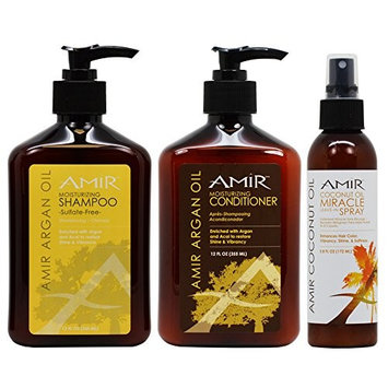 Amir Moisturizing Shampoo + Conditioner 12oz + Coconut Miracle Leave In Spray 5.8oz