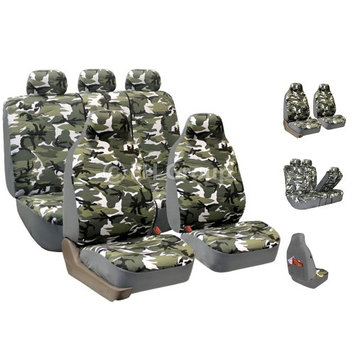 Fh Group FH-FB109115 Camouflage Car Seat Covers, Airbag compatible and Split Bench, Light Camo