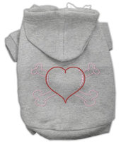 Mirage Pet Products 5437 LGGY Heart and Crossbones Hoodies Grey L 14
