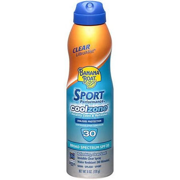 Banana Boat Sport Performance UltraMist CoolZone Continuous Spray Sunscreen, SPF 30 Refreshing, Clean Scent 6.0 oz(pack of 6)