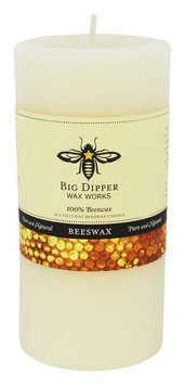 Big Dipper Wax Works - 100% Pure Beeswax Candle 3' x 6' Pillar Ivory