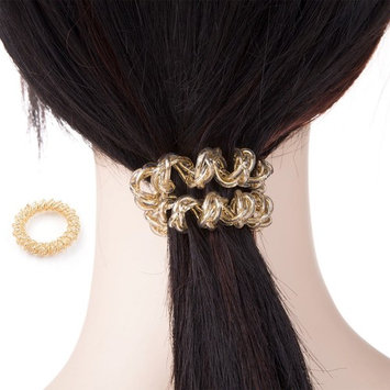 Metallic color Spiral Hair Ties No Crease Elastic Ponytail Holders Phone Cord Traceless Hair Ring Hair Rubber Bands Suitable for All Hair Types, 3 clolrs 12pcs