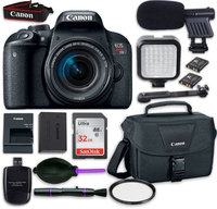 Canon EOS Rebel T7i DSLR Camera with Canon EF-S 18-55mm f/4-5.6 IS STM Lens, LED Light, Microphone, Accessory Bundle
