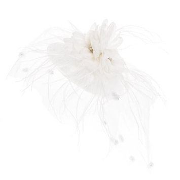 Zad Women's Feather & Mesh Fascinator Hair Clip Cocktail Party Hat (Bright White)