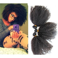 12'' Unprocessed Virgin Mongolian Afro Kinky Curly Human Hair Extensions for Black Women Beauty and Hair Salon Natural Black 100g/one Bundle