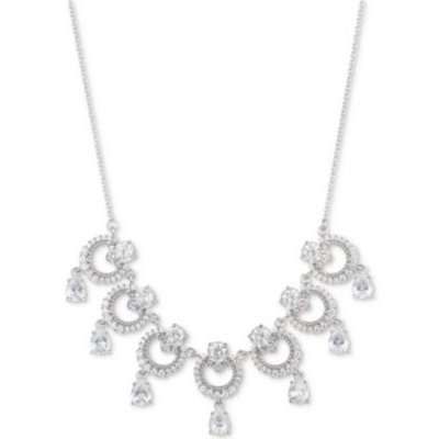Silver-Tone Cubic Zirconia Link Statement Necklace, 16