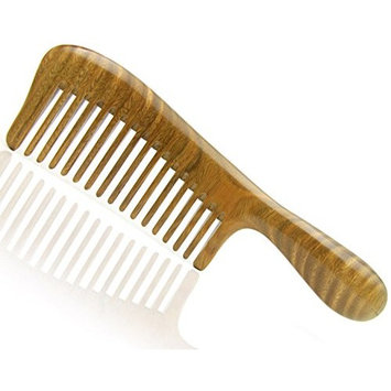 Handmade Premium Quality Natural Green Sandalwood Massage Comb with Thick Round Handle, Wide Tooth Wooden Hair Comb 7.8