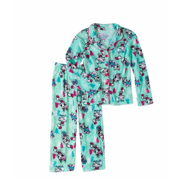 Girls' Flannel Coat Style Pajama 2-Piece Sleepwear Set