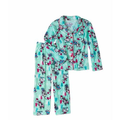 Girls' Flannel Coat Style Pajama 2-Piece Sleepwear Set