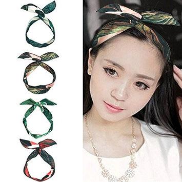 Wire Headbands, Fascigirl 4 PCS Vintage Boho Twist Bow Tie Hair Wrap Fashion Floral Adjustable Hairbands Hair Accessories for Women Girls