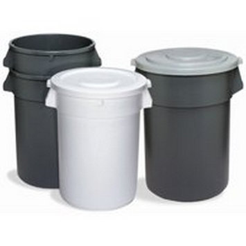 Continental 2000WH, 20 gal. Huskee Round Waste Container, White
