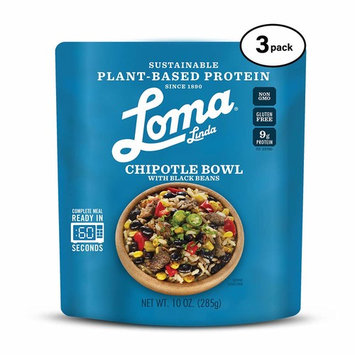 Loma Linda Blue - Plant-Based Complete Meal Solution - Heat & Eat Chipotle Bowl (10 oz.) (Pack of 3) - Non-GMO, Gluten Free