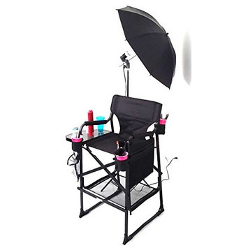 TuscanyPro MAKEUP and HAIR w/Light Set-Unique DESIGN w/THREE Brush HOLDERS and CELL PHONE HOLDER-Mesh Trash Bag Included-10 YEARS WARRANTY-29