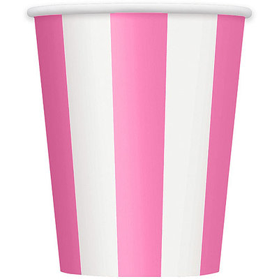 12oz Striped Paper Cups, Hot Pink, 6ct