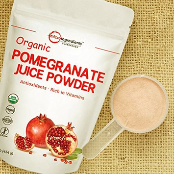 Organic Pomegranate Juice Powder,1 Pound (16 Ounce), Freeze-Dried and Cold-Pressed, Powerfully Supports Cardiovascular Health, Cholesterol Metabolism and Anti-Oxidant. Non-GMO and Vegan Friendly