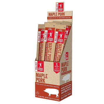Caveman Foods Paleo – Certified, Keto Friendly, Gluten Free, Low Carb Maple Pork with Uncured Bacon Snack Stick, 1 Ounce, 20 count