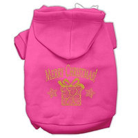 Mirage Pet Products Golden Christmas Present Dog Pet Hoodies Bright Pink Size XS (8)
