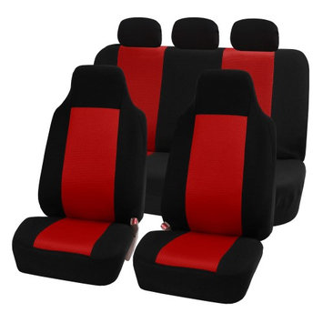 Fh Group FH-FB102115 Classic Cloth Car Seat Covers, Full Set with Solid Bench, Red / Black