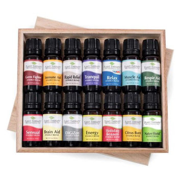 14 Top Synergies Essential Oil Set Includes 10 ml each: Sensual, Tranquil, Pain Aid, Holiday Season, Energy, Digest Aid, Brain Aid, Respir Aid, Immune Aid, Muscle, Relax, Insect Shield, Citrus Burst, Germ Fighter.