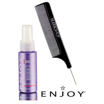 Enjoy Conditioning Spray (pH 3.5-4.5 Color Holding Formula Repair) Leave-in Detangler (with Sleek Steel Pin Tail Comb)