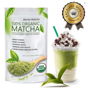 Wmbr Corp Starter Matcha (16oz) - USDA Organic, Kosher & Non-GMO Certified, Vegan and Gluten-Free. Pure Matcha Green Tea Powder. Natural Energy Booster and Fat Burner