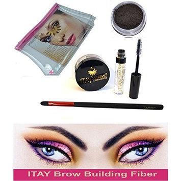 Bundle 4 items : Itay Beauty Brow Building Fibers Set (Fibers + Clear defining Gel + cosmetics bag + brush ) (Dark Brown) by ITAY Mineral Cosmetics