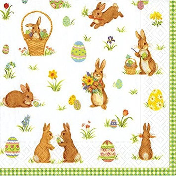 Entertaining with Caspari Luncheon Napkin, Cottontails Green, 20-Pack
