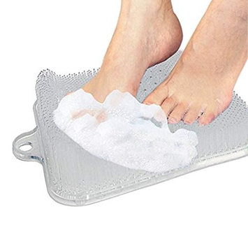 EPHVODI Foot Scrubber Brush Feet Massager Cleaner Mat for Shower with Suction Cups,Improves Circulation(Square,Transpanrent)
