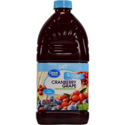 Great Value Diet Cranberry Grape Juice Cocktail, 64 oz