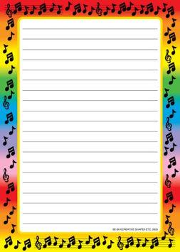 Creative Shapes Etc. Large Notepad - Music Border / Lined