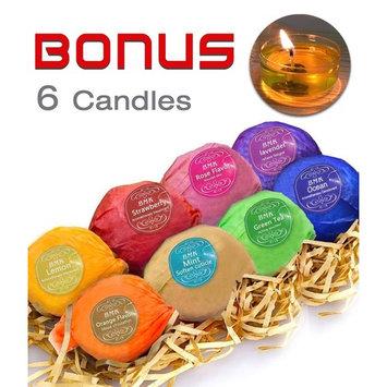 BMK Bath Bombs Gift Set, 8 Essential Oils Bath Fizzies & 6 Bathtub Candles, Handmade Natural Organic Luxury Spa Bomb Bath Basket Gift Ideas for Women, Mom, Girls, Kids