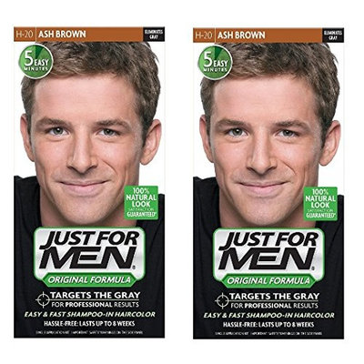 Just for Men Shampoo-in Hair Color, Ash Brown H-20, 1 Application (Pack of 2) + FREE Luxury Luffa Loofah Bath Sponge On A Rope, Color May Vary