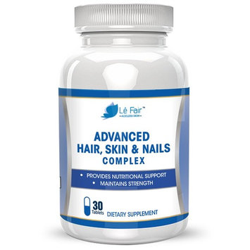 Le Fair Advanced Hair Skin Nails Advanced Formula - Provides Nutritional Support - Contains Biotin, Bamboo Extract, MSM, and Green Tea Extract to Promote Hair, Nail & Toenail and Eyelash Growth - Skin Health, Anti Wrinkle Pills - All Natural