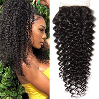 Longqi Hair Brazilian Curly Lace Closure 1PC 4x4 100% Unprocessed Human Hair Extensions Natural Color (16 inch three part closure)