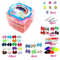 3 Layer Gift Box For Toddlers Baby Girls Hair Accessories,Included 4