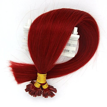 VANLINKE Fusion Keratin Pre Bonded U Nail Tip Remy Real Human Hair Extensions Straight 50s 16-22inches 1g Per Strand (20inches, Red)