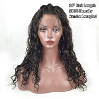 Human Hair Wigs for Black Women-Glueless Full Lace Wigs with Baby Hair Brazilian Hair Water Wave 130% Density Natural Color 22inch
