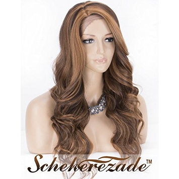 Brown Lace Front Wig with Highlights, Wavy Synthetic Wigs for Women Scheherezade L Part Lace Wig Half Hand Tied 20 Inches