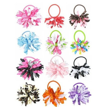 HipGirl 100pc Thick Girls Hair Ties. No Crease Elastic Ribbon Hair Ties Ponytail Holder, Ouchless Stretchy Styling Tool Bows Accessories,Assorted Hand Knotted Fold Over Hair Elastics for Girls Women