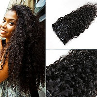Water Wave Human Hair Clip-in Extension,Mongolian Hair,120G/Set,8Pcs,18 Clips (18 Inch)