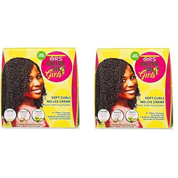 [ Pack Of 2] ORS OLIVE OIL GIRL SOFT CURLS NO-LYE CREME TEXTURE SOFTENING KIT: Beauty
