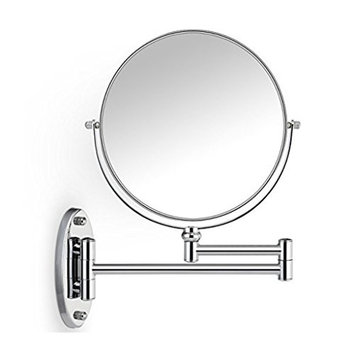 MonkeyJack 8 Inch Double-Sided Swivel Wall Mount Vanity Mirror, 5x Magnification Swivel 12 Inch Extension Makeup Mirror for Bathroom Bedroom Shaving Makeup