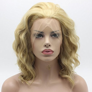 Lace Front Synthetic Wig Medium Length Curly 14inch Three Tone Honey Blonde Mix Wig Stylish Wig