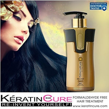 Keratin Cure Best Treatment Gold and Honey Bio 10 Ounces for Silky Soft Hair Formaldehyde Free Professional Complex with Argan Oil Nourishing Straightening Damaged Dry Frizzy Coarse Curly Wavy Hair