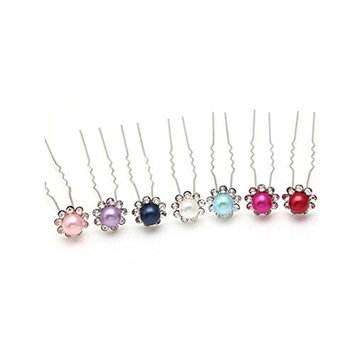 10 PCS U-shaped hairpin hair jewelry accessories hairpin children wedding card inserted dish made hair clip wholesale imitation pearl pins color at random
