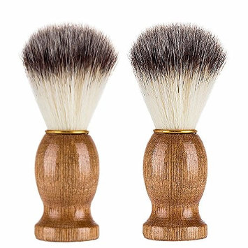 MAXGOODS 2 Pack Razor Brush,Wood Handle Men Shaving Bear Brush for Barber Salon Men Facial Beard Cleaning Appliance Shave Tool